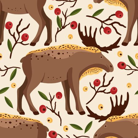 Cute cartoon forest moose vector animal art. Brown elk in a flat style. Amusing woodland Christmas seamless pattern.
