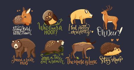 Hand drawn forest animal vector set in a flat style. Woodland cartoon icon funny collection with funny lettering joke quotes moose and hedgehog. Bear, wild boar, fawn deer, owl and beaver fauna.