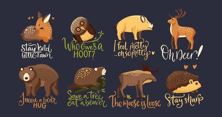 Vector de animales del bosque dibujado a mano en un estilo plano. Colección divertida del icono de la historieta del bosque con la broma divertida de las letras que cita los alces y el erizo. Fauna de osos, jabalíes, ciervos, lechuzas y castores.