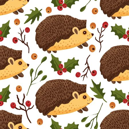 Seamless pattern with cute cartoon vector hedgehog in a flat style on a white background. Little forest animal with red berries.