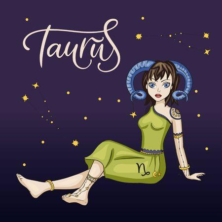 Signo del vector de la hermosa chica de Tauro del zodiaco. Ilustración de astrología horóscopo de dibujos animados con constelaciones. Dibujo del horóscopo. Ilustración de vector