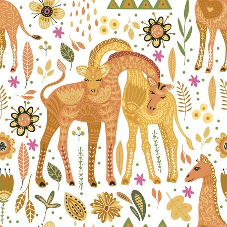 Seamless pattern with cartoon giraffe vector flat illustration in scandinavian style. Cute african animals on a white background.