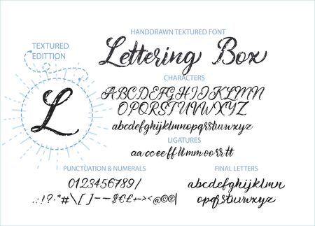 Polices ABC de l'alphabet vectoriel mignon dessinés à la main avec des lettres texturées dessinées à la main, des chiffres, des symboles. Pour la calligraphie, le lettrage, les citations faites à la main. Vecteurs