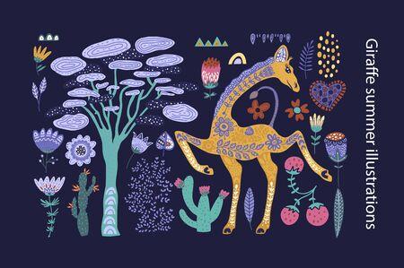Cartoon giraffe vector flat illustration in scandinavian style. Clip art african collection. Isolated detailed stickers.
