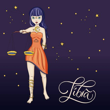 Zodiac Libra Beautiful Girl Vector Sign. Cartoon horoscope astrology illustration with constellations. Horoscope drawing.