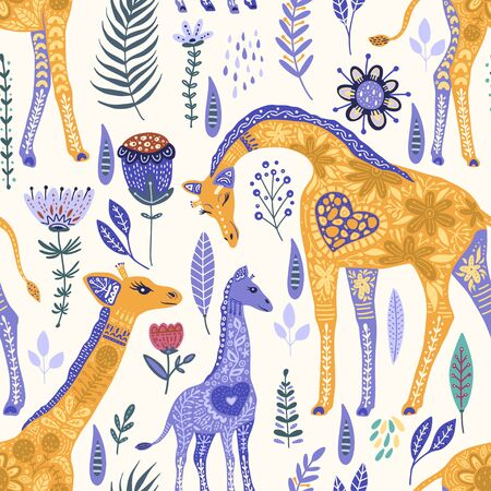Seamless pattern with cartoon giraffe vector flat illustration in scandinavian style. Color cute african animals background.
