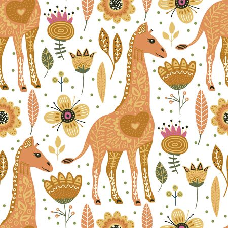 Seamless pattern with cartoon giraffe vector flat illustration in scandinavian style. Cute african animals on a white background. Kids drawing. 向量圖像