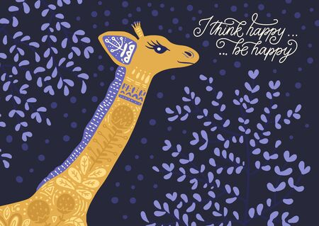 Cartoon giraffe vector flat illustration in scandinavian style. I think happy, be happy.
