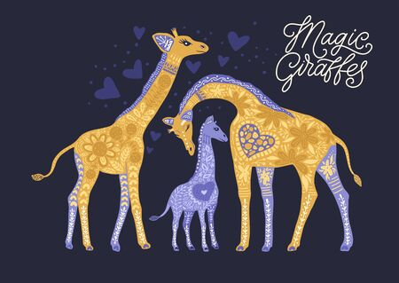 Cartoon giraffe vector flat illustration in scandinavian style. African animals family card with lettering - magical giraffes. 向量圖像