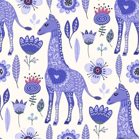 Seamless pattern with cartoon giraffe vector flat illustration in scandinavian style. Magical blue cute african animal background. 向量圖像