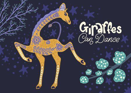 Cartoon giraffe vector flat illustration in scandinavian style. Giraffes can dance.