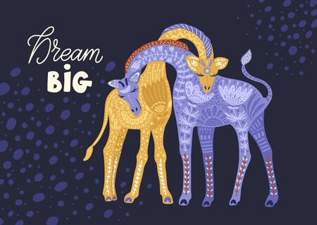 Cartoon giraffe vector flat illustration in scandinavian style. Dream big. 向量圖像