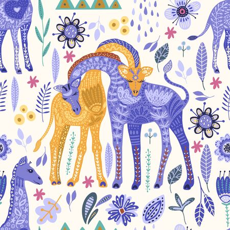 Seamless pattern with cartoon giraffe vector flat illustration in scandinavian style. Color cute african animal background. 向量圖像