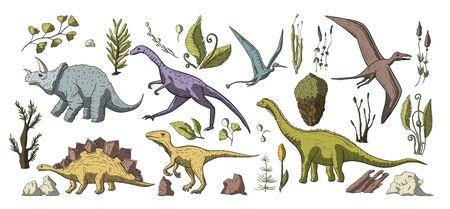Enorme colección de dinosaurios dibujados a mano de imágenes prediseñadas vectoriales. Dino prehistórico estegosaurio, triceratops, brontosaurio y pterosaurio de dibujos animados lindo doodle conjunto jurásico con elementos florales y piedras.