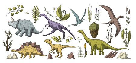 Huge vector clip art hand drawn dinosaur collection. Dino prehistoric stegosaurus, triceratops, brontosaurus and pterosaur cute cartoon doodle jurassic set with floral elements and stones. Ilustracja