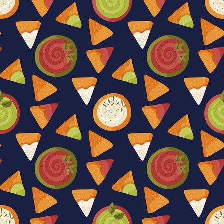 Mexican nacho seamless pattern. Traditional snack with sauce in a flat style. Mexico delicious meal.