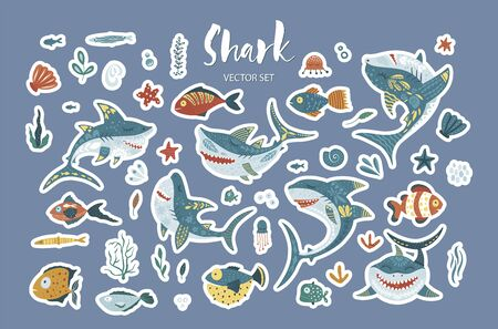 Happy shark flat vector sticker set. Underwater fish animal family cute icon collection in a flat style.