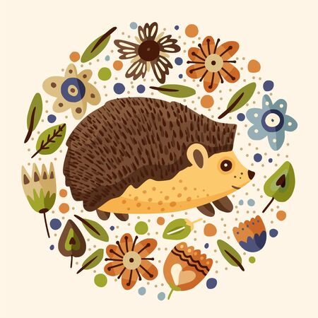 Round illustration with cute cartoon little vector hedgehog in a flat style. Botanical floral vintage poster. Forest animal art with flowers. Ilustração