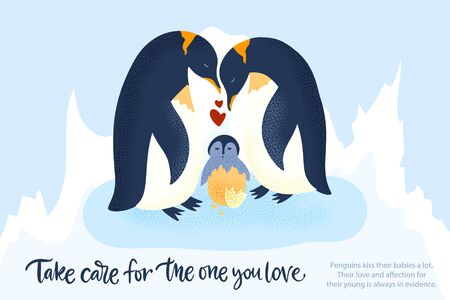 Happy valentine day vector textured animal card in a flat style with quote and real facts about love. Romantic illustration. Penguin family take care of a baby.