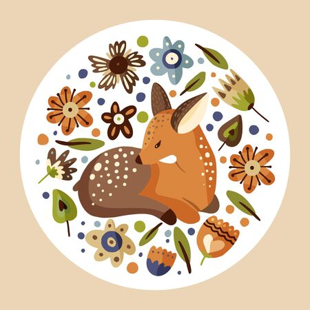 Cute vector illustration with a little fawn woodland animal in a flat style. Forest nature round deer postcard with botanical floral elements - flowers and foliage. 일러스트