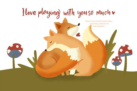 Happy valentine day vector textured foxes animal card in a flat style with quote and real facts about love. Romantic illustration. Fox hugs a friend and love to play. Illustration
