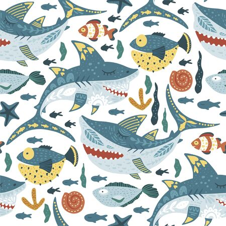 Seamless vector pattern with cute cartoon funny shark fish in a flat scandinavian style. Kid underwater fabric graphic illustration on a white background. Baby shark Doo Doo Doo.