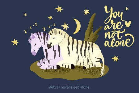 Happy valentine day vector textured animal card in a flat style with quote and real facts about zebras love. Zebra horse couple sleeping together. You are not alone. Иллюстрация