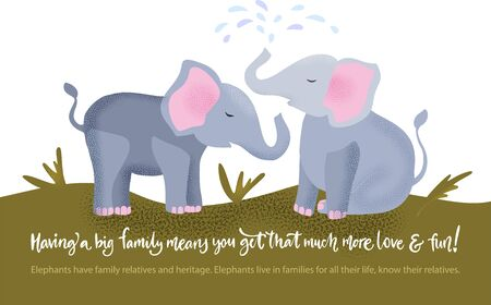 Happy valentine day vector textured elephant family card in a flat style with quote and real facts about love. Romantic animal couple hand drawn illustration.