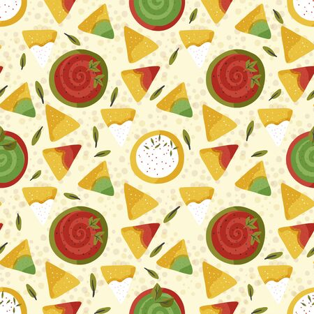 Mexican nacho vintage seamless pattern. Traditional snack with sauce in a flat style. Mexico delicious meal. Illusztráció