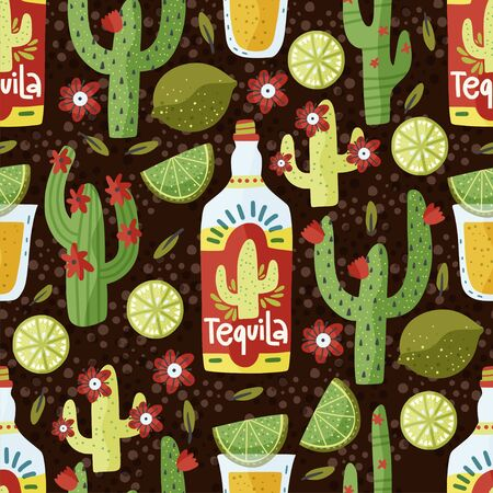 Tequila drink vector seamless pattern. Mexican alcohol traditional short with lime cactus and flowers.