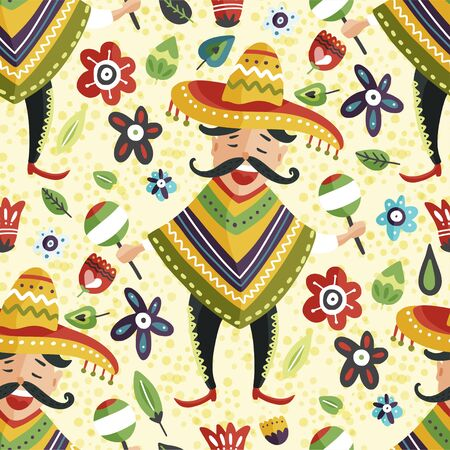 Mexican happy man in sombrero hat with maracas vector seamless pattern. Traditional Mexico cartoon flat illustration. Cinco de mayo latin party card.