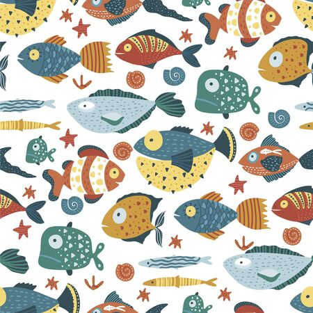 Seamless vector pattern with cute cartoon funny fishes in a flat scandinavian style. Kid underwater fabric graphic illustration on a white background. Çizim