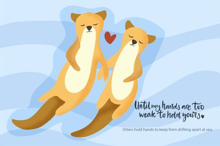 Happy valentine day vector textured animal card in a flat style with quote and real facts about love. Otter aquatic couple swimming together. Romantic illustration.