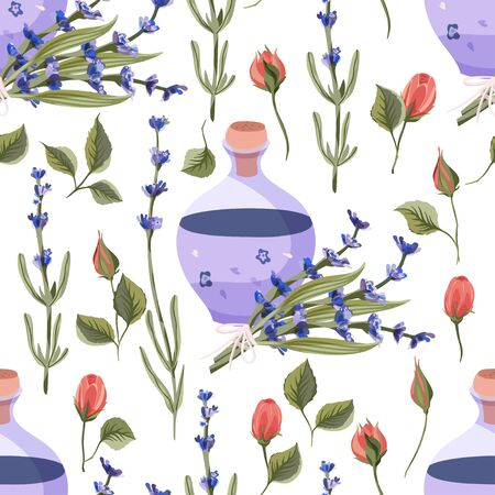 Provence seamless vector vintage pattern in a flat style. Lavender and red rose blossom flower bouquet with lavender oil bottle summer art on a white background.