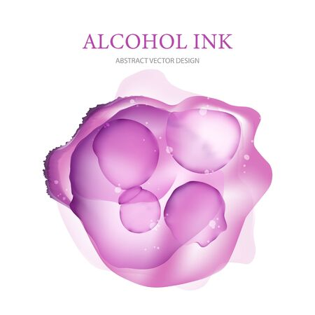 Abctract vector alcohol ink liquid illustration. 3d fluid flow shape. Color isolated pink splash in modern style, isolated with cool transparent texture.