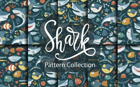 Seamless vector pattern set with cute cartoon funny shark fish in a flat style.