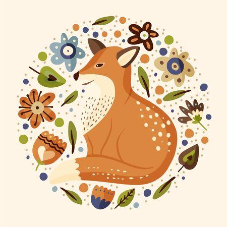 Cartoon fox cute vector illustration. Çizim