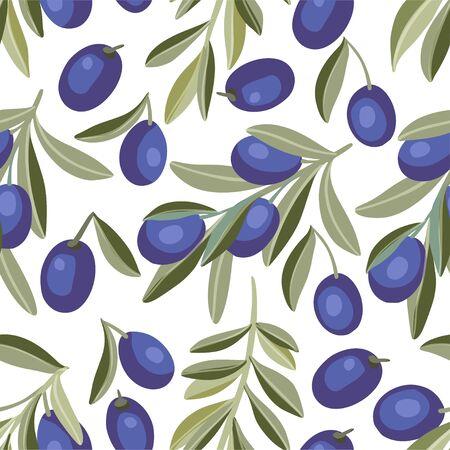 Provence Italian or Greece Mediterranean black olive seamless vector pattern. Çizim