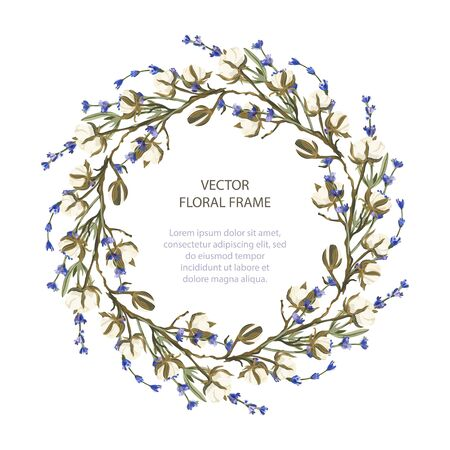 Wreath vector frame floral card greeting template in a flat style.