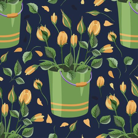 Yellow rose and wild flower bucket bouquet vector seamless pattern in a flat style.