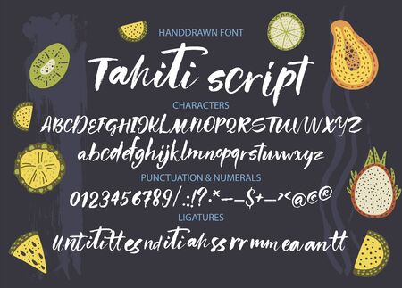 Textured calligraphy hand drawn vector alphabet. Rough grunge font. Latin tropical script typeset with letters and numbers. Çizim