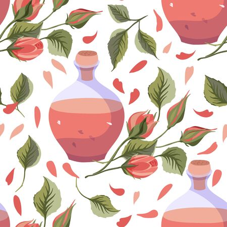 Rose flower vector seamless pattern in a flat style.