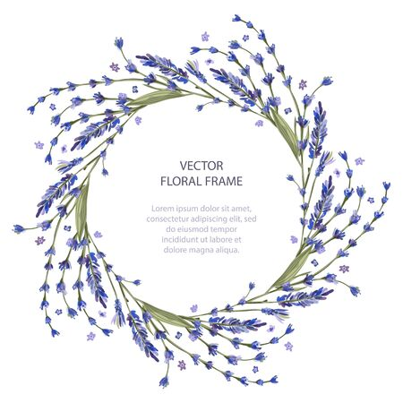 Wreath vector frame floral card greeting template in a flat style. Circle wedding or birthday romantic background with lavender flowers.