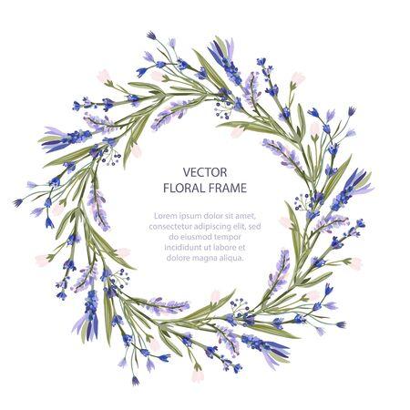 Modello di saluto della carta floreale della struttura di vettore della corona in uno stile piano. Cerchio matrimonio o compleanno sfondo romantico con fiori di lavanda. Vettoriali