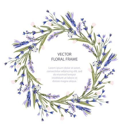 Wreath vector frame floral card greeting template in a flat style. Circle wedding or birthday romantic background with lavender flowers. Vector Illustratie