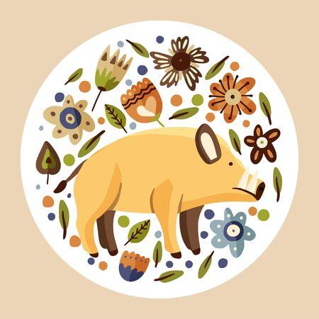 Wild boar woodland flat vector animal illustration.