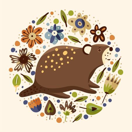 Cartoon cute beaver forest vector animal card in a flat scandinavian style. Woodland hand drawing funny nature round vintage illustration.