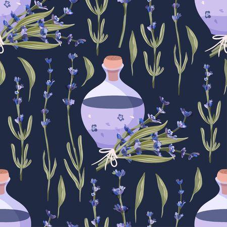 Lavender blossom flower bouquet and lavender oil bottle summer art on a blue