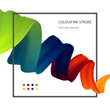Abctract vector illustration. 3d liquid fluid flow rainbow ribbon. Color isolated wave in modern style. Cool futuristic dynamic acrylic shape on a white background.