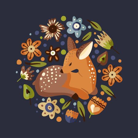 Cute vector illustration with a little fawn woodland animal in a flat style.